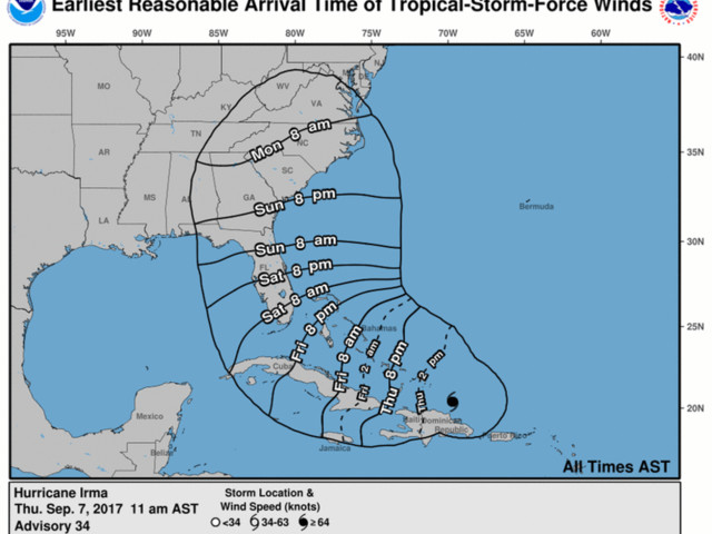 Hurricane Irma 2 PM EDT update: forecast mostly unchanged