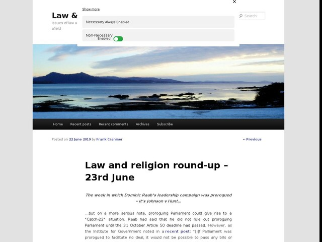 Law and religion round-up – 23rd June