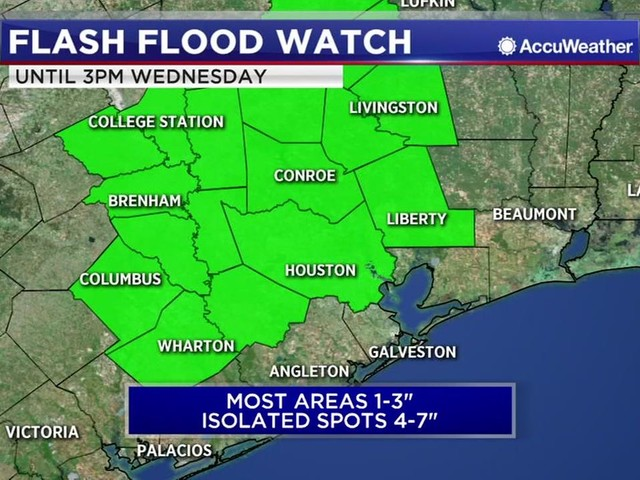 Flash Flood Watch issued for Houston and parts of Southeast Texas through 3 p.m.