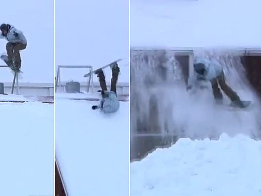 Painful moment a 'badly hungover' snowboarder loses control while jumping off a roof in Finland