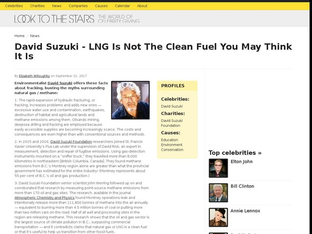David Suzuki - LNG Is Not The Clean Fuel You May Think It Is