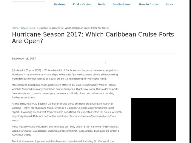 Hurricane Season 2017: Which Caribbean Cruise Ports Are Open?