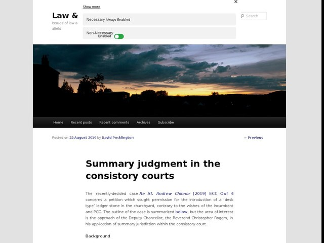 Summary judgment in the consistory courts