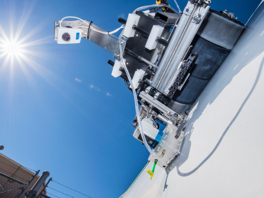 This robot crawls along wind turbine blades looking for invisible flaws