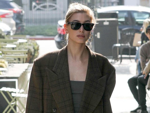 Hailey Bieber Rocks Oversized Checked Blazer for Salon Visit