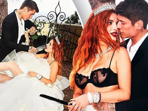 Bella Thorne slips off her dress as she and Benjamin Mascolo pack on the PDA in engagement shots