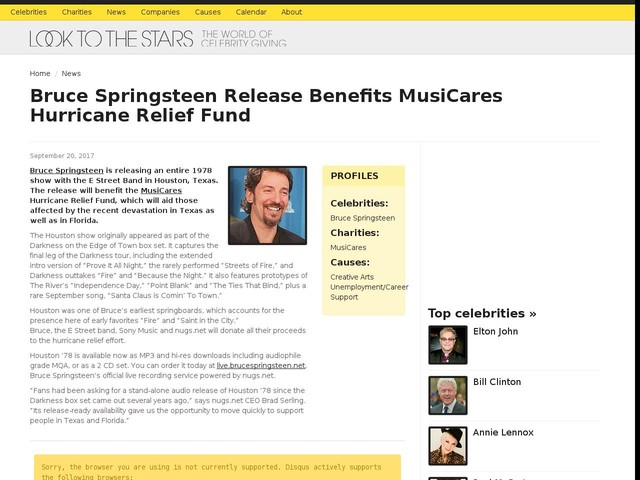 Bruce Springsteen Release Benefits MusiCares Hurricane Relief Fund