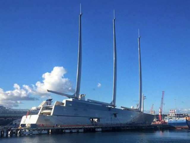 A Russian billionaire's £360 million superyacht 'Sailing Yacht A' has been spotted docked at the Port of Gibraltar