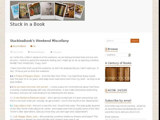 StuckinaBook's Weekend Miscellany