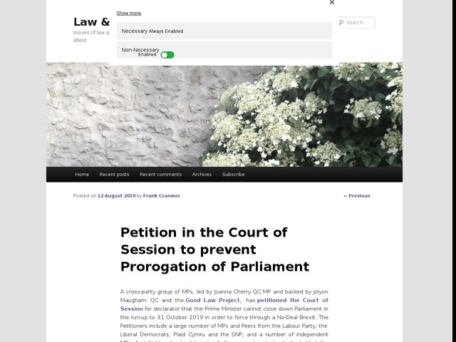 Petition in the Court of Session to prevent Prorogation of Parliament