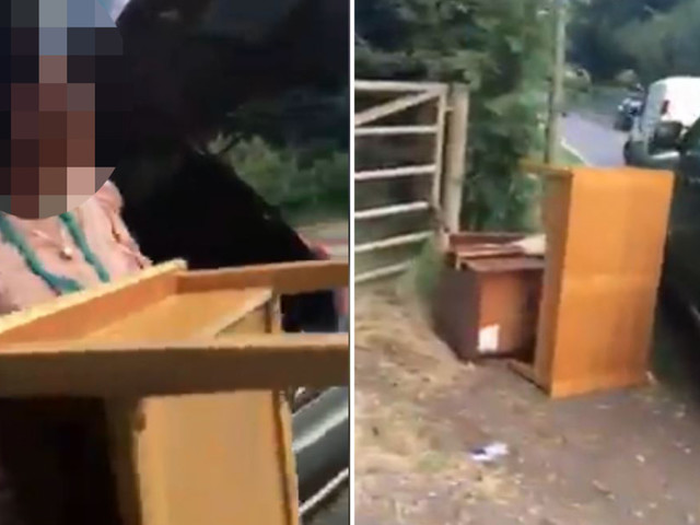 Moment 'fly-tipping' woman is 'caught dumping table and desk outside gate by furious landowner'