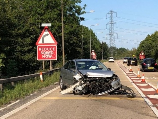 Police hunting driver of Ford Focus who fled after crashing into barrier on M60
