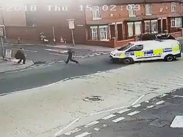 Moment police officer was hit by colleague's van as he chased suspect