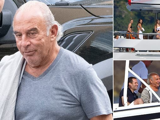 Shamed Topshop tycoon Philip Green soaks up the sun aboard his £100m superyacht
