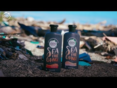 Beach Plastic Haircare Bottles - Herbal Essences Created Packaging Made with 25% Beach Plastic (TrendHunter.com)