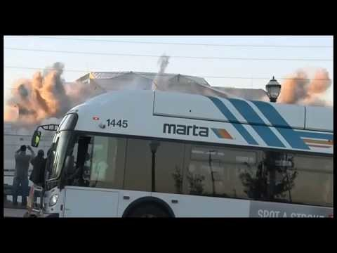 OMG! Cameraman LOSES IT As Bus Driver Accidentally Blocks Money Shot Of Georgia Dome Implosion!