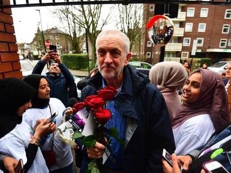 Man arrested after egg thrown at Jeremy Corbyn during mosque visit