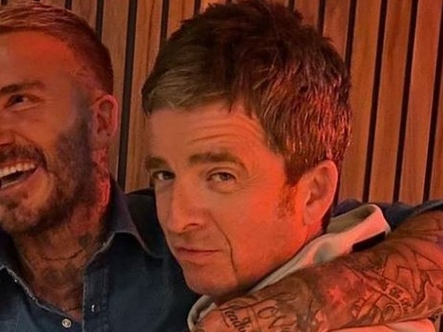 David Beckham makes cheeky dig at City fan Noel Gallagher as they cuddle after Oasis film