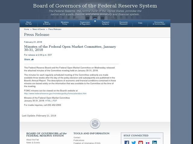 Minutes of the Federal Open Market Committee, January 30-31, 2018 - Federal Reserve
