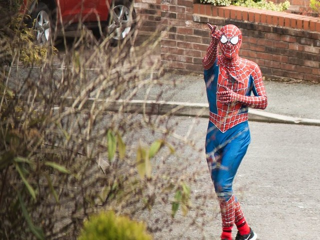 Spider-Man is spreading joy around Stockport for kids stuck in isolation