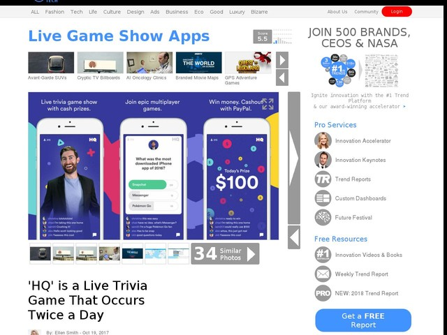 Live Game Show Apps - 'HQ' is a Live Trivia Game That Occurs Twice a Day (TrendHunter.com)