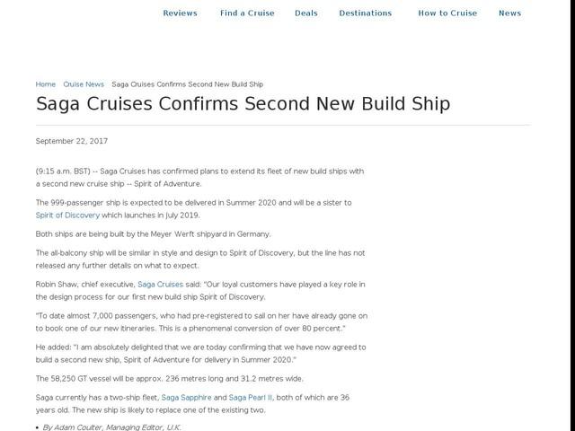 Saga Cruises Confirms Second New Build Ship