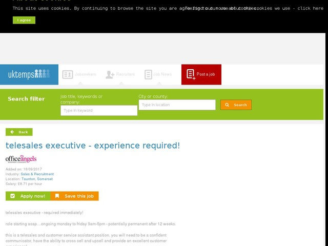 telesales executive - experience required!