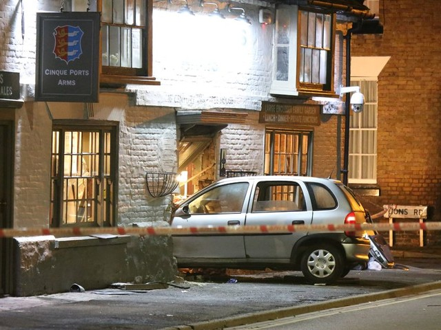 Car ploughs through front door of busy £1.2million pub leaving four injured in third crash in just two years