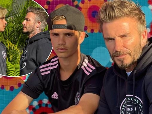 David Beckham faces off with son Romeo for a photoshoot to showcase Inter Miami's new merch