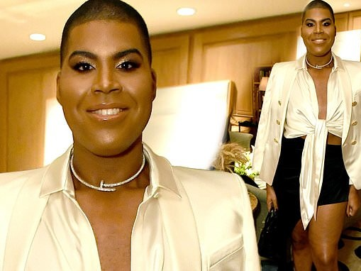 EJ Johnson flaunts his legs in a black mini skirt at an event for Netflix's Hollywood