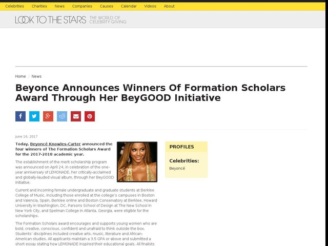 Beyonce Announces Winners Of Formation Scholars Award Through Her BeyGOOD Initiative