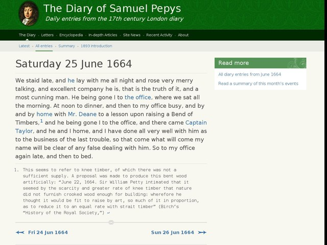 Saturday 25 June 1664
