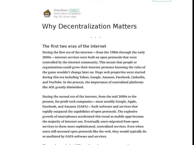 Why Decentralization Matters - Medium