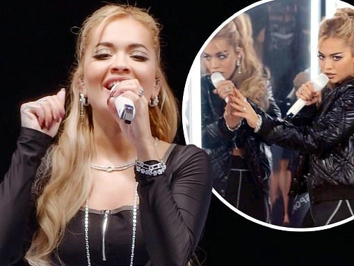 Rita Ora commands attention in a zip-up crop top as she performs for Shein's virtual fashion show