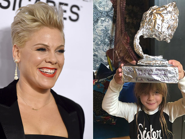 Pink's kids give her aluminum foil award after she doesn't win Grammy