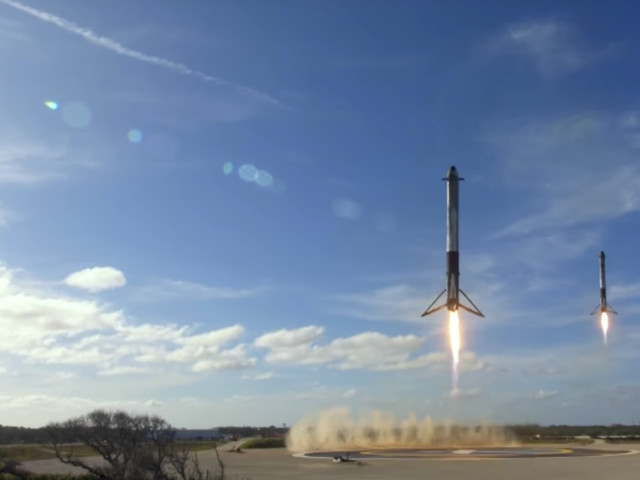 Watch Elon Musk's SpaceX Land Two Rockets Side By Side