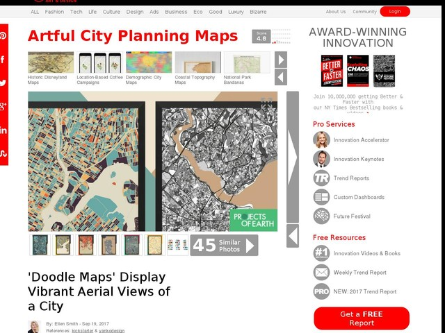 Artful City Planning Maps - 'Doodle Maps' Display Vibrant Aerial Views of a City (TrendHunter.com)