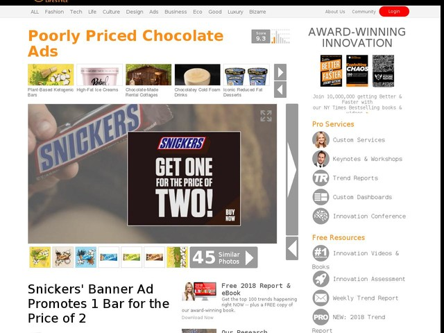 Poorly Priced Chocolate Ads - Snickers' Banner Ad Promotes 1 Bar for the Price of 2 (TrendHunter.com)