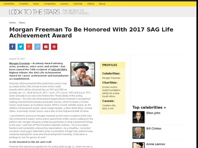 Morgan Freeman To Be Honored With 2017 SAG Life Achievement Award