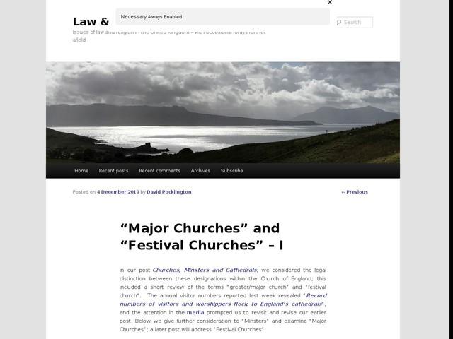 """Major Churches"" and ""Festival Churches"" – I"