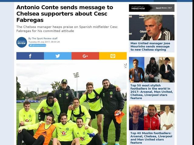 Antonio Conte sends message to Chelsea supporters about Cesc Fabregas