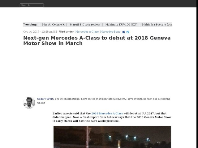 Next-gen Mercedes A-Class to debut at 2018 Geneva Motor Show in March