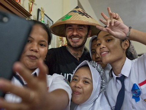 David Beckham Visits Indonesia To Meet Children Tackling Violence And Bullying In The Classroom