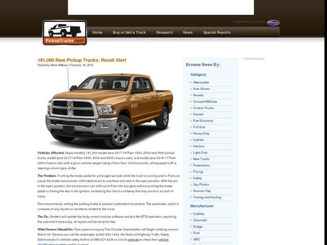 181,000 Ram Pickup Trucks: Recall Alert