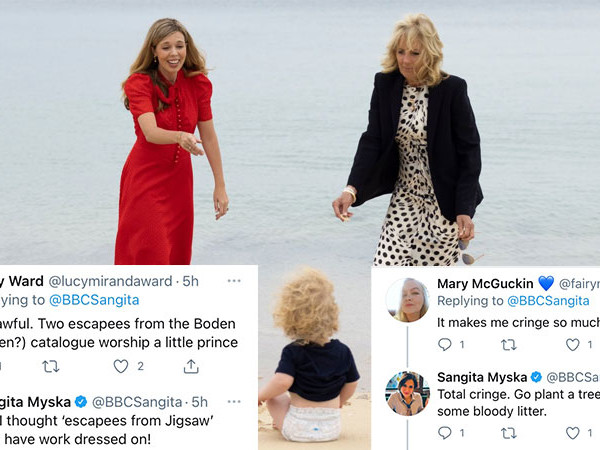 Carrie Johnson & Jill Biden on the Beach With Wilfred Triggers Social Media