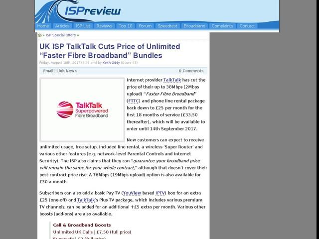 "UK ISP TalkTalk Cuts Price of Unlimited ""Faster Fibre Broadband"" Bundles"