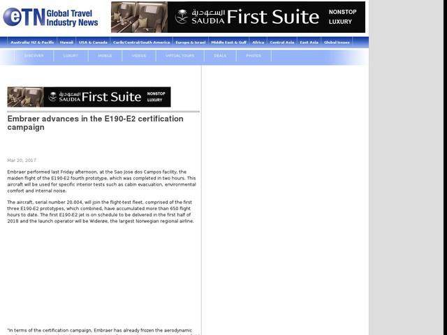 Embraer advances in the E190-E2 certification campaign