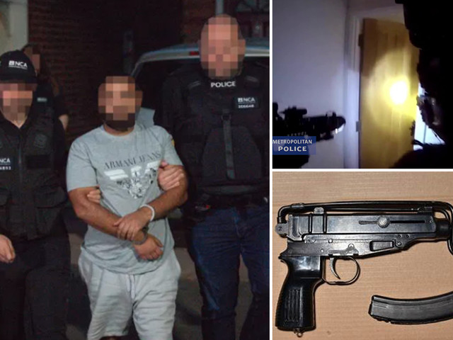 Stun grenades flare as heavily-armed cops in combat gear raid house in 'UK's biggest ever operation' on organised crime