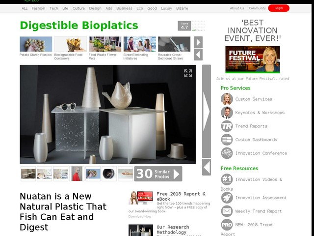 Digestible Bioplatics - Nuatan is a New Natural Plastic That Fish Can Eat and Digest (TrendHunter.com)