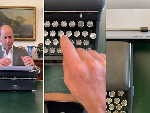 Prince William shares a video of himself using just one finger to type on a typewrite